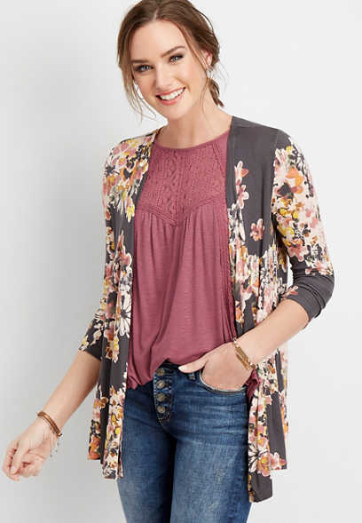 crochet back floral cardigan