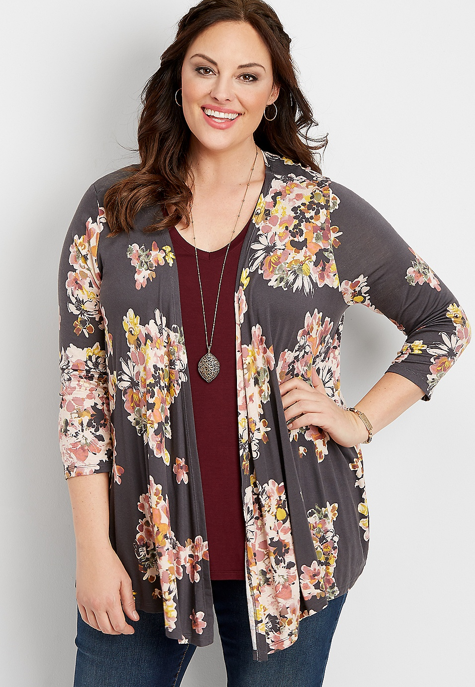 Plus Size Crochet Back Floral Cardigan Maurices