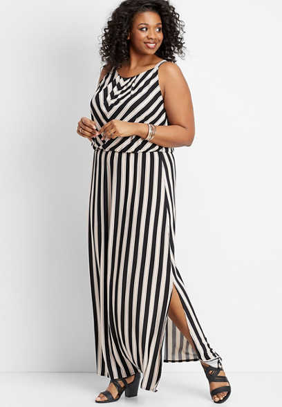 plus size stripe print maxi dress