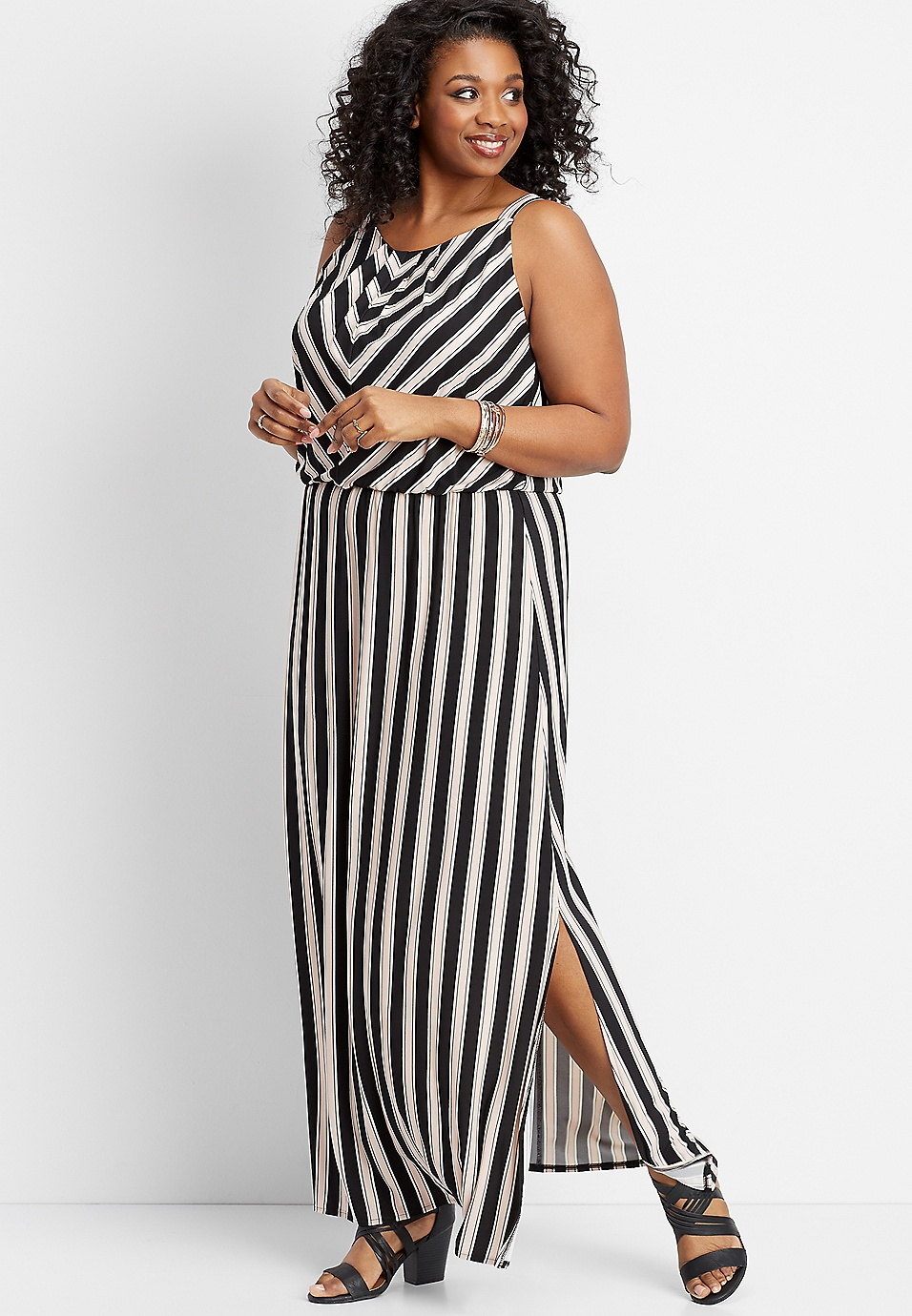 4a730bb1235 plus size stripe print maxi dress
