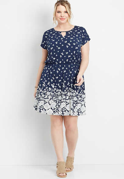plus size floral print lattice back dress