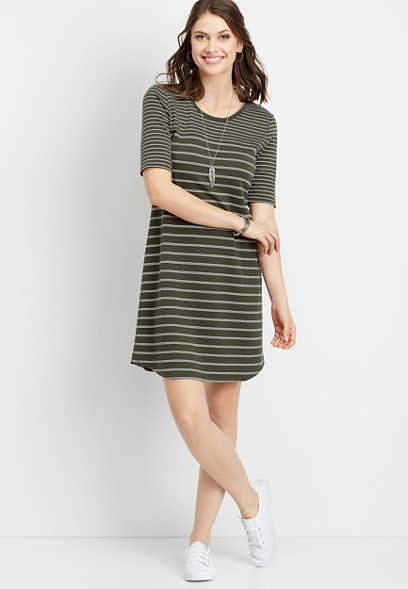 stripe scoop neck t-shirt dress