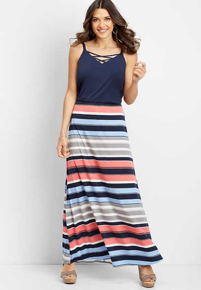 stripe lattice neck maxi dress