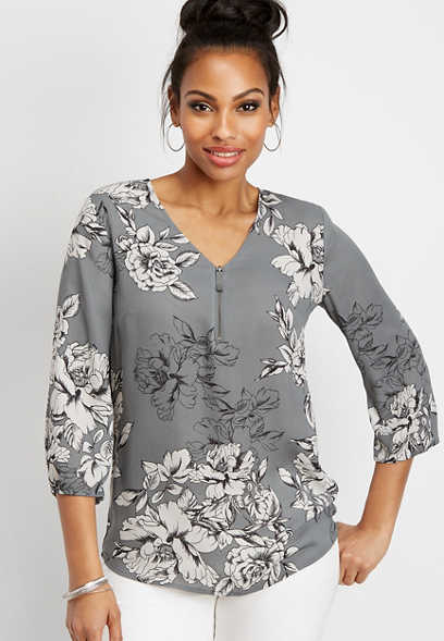 floral zip front popover tunic blouse