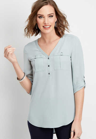 solid button down v-neck blouse