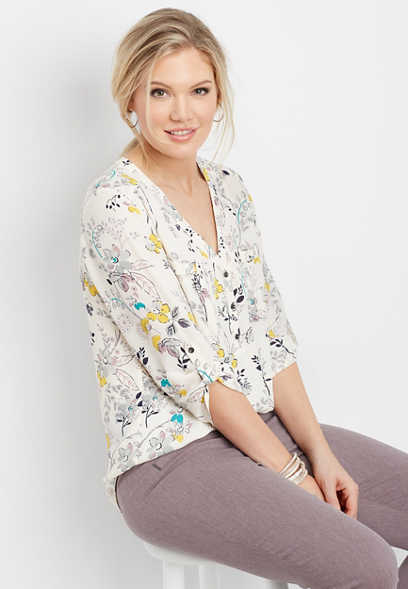 floral two pocket button v-neck blouse