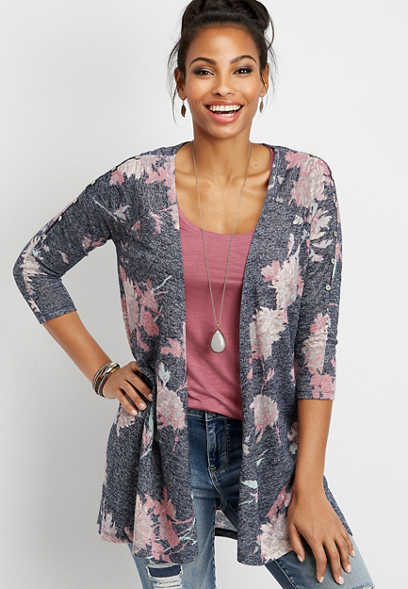 floral button shoulder cardigan