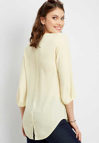 solid zip front blouse