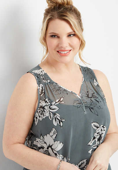 plus size floral smocked shoulder tank