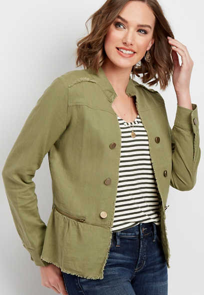 zip pocket military peplum jacket