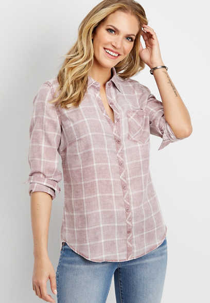 burnwash plaid button down shirt