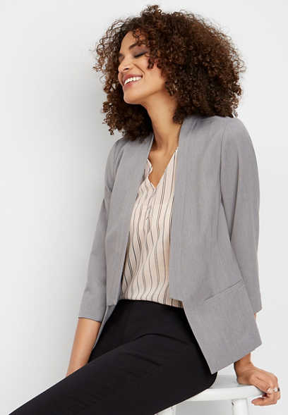 gray open front suiting blazer