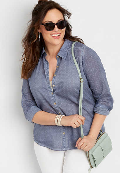 plus size star dot button down shirt