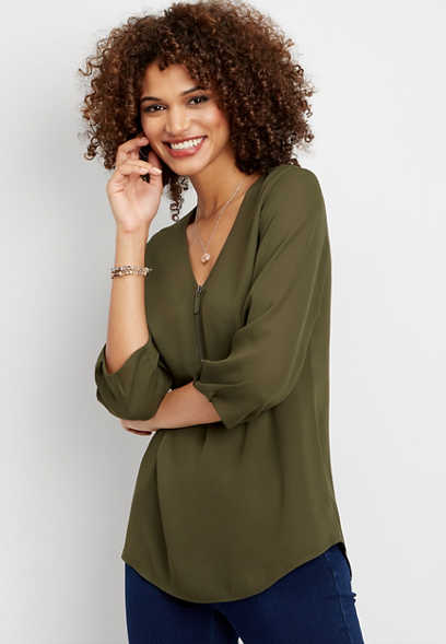 solid zip front tunic blouse