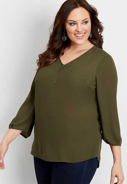 zip front popover tunic blouse