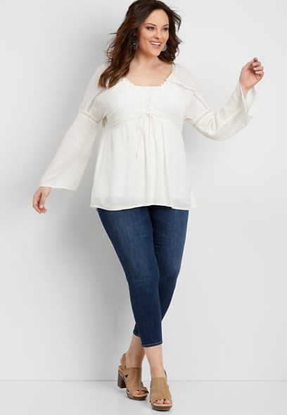 plus size Silver Jeans Co.® tie front peasant top