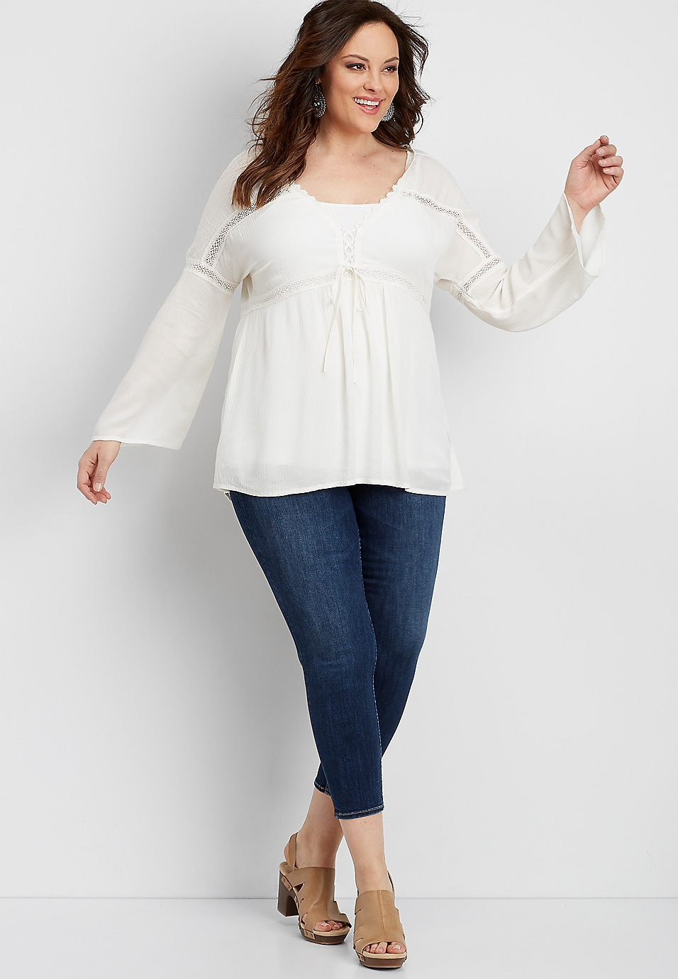 754cc182a46952 plus size Silver Jeans Co.® tie front peasant top   maurices
