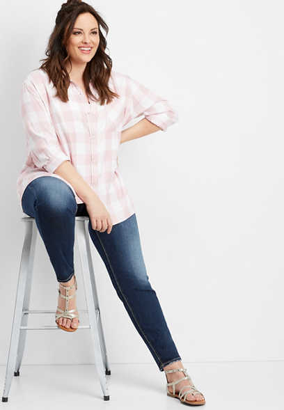plus size Silver Jeans Co.® buffalo plaid button down shirt