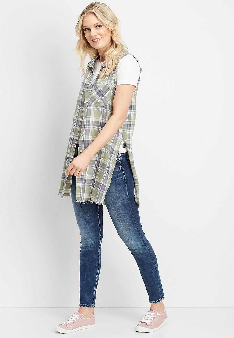 ece31bd89 Silver Jeans Co.® plaid sleeveless button down shirt | maurices