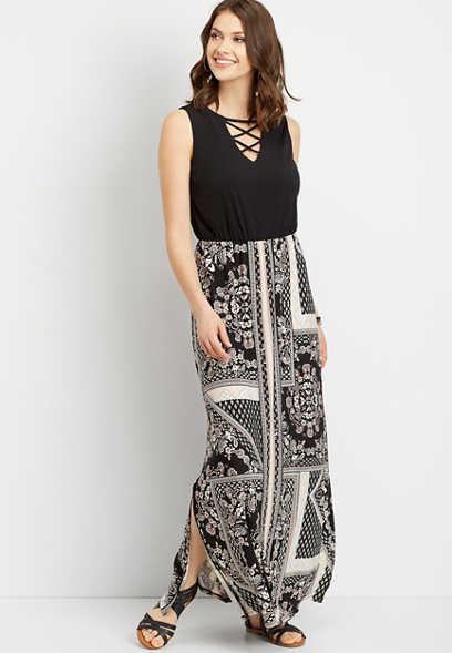 lattice neck patterned maxi dress
