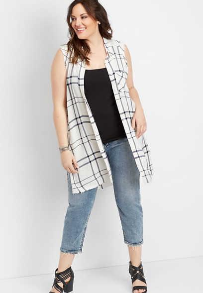 009906e3 plus size Silver Jeans Co.® white sleeveless plaid button down shirt