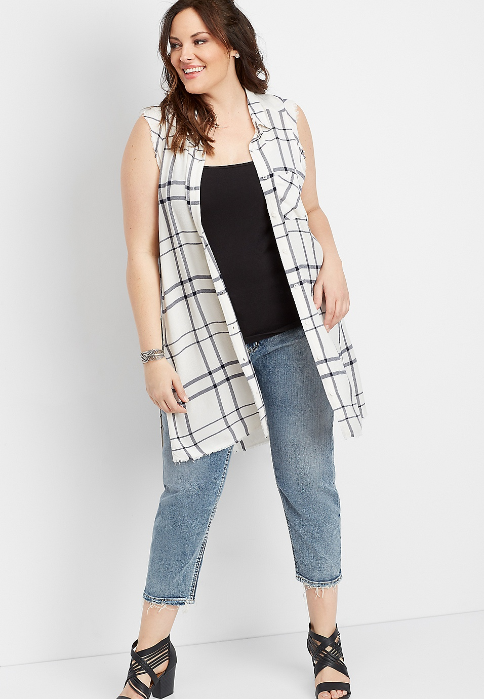 0cbe83cc1 plus size Silver Jeans Co.® white sleeveless plaid button down shirt |  maurices