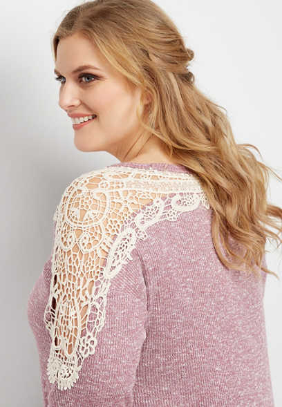 plus size crocheted yoke tie front top