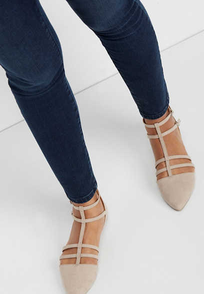 Lorelie pointed toe zip back flat