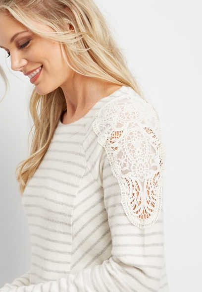 crocheted shoulder stripe tunic top