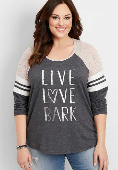 plus size live love bark graphic pullover