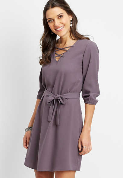 lattice neck tie front dress