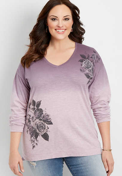plus size floral dip dye graphic pullover
