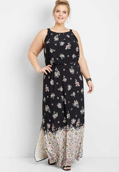 plus size floral border print maxi dress