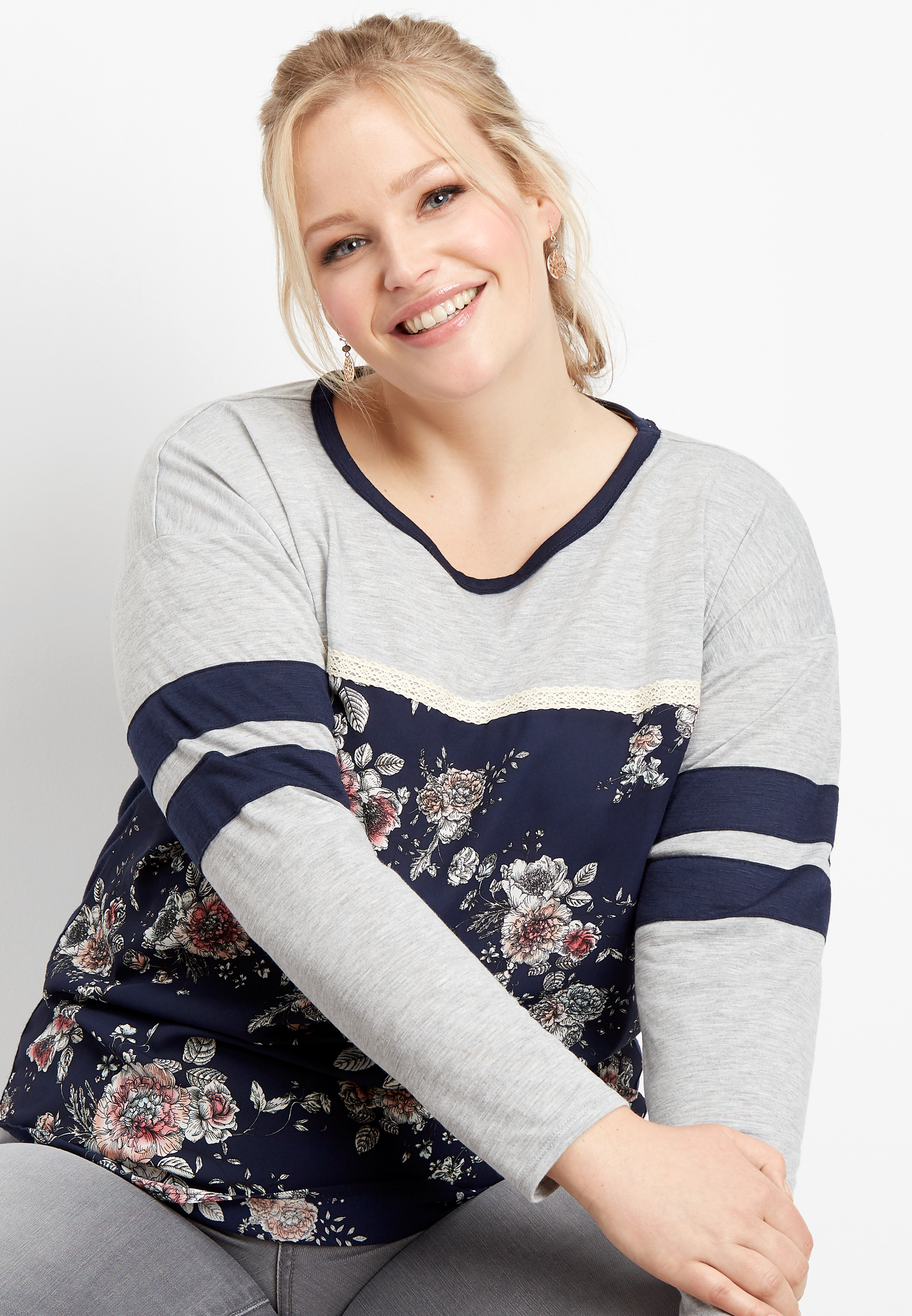 Plus Size Floral Print Baseball Tee by Maurices