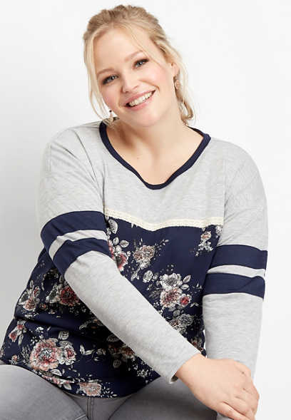 plus size floral print baseball tee