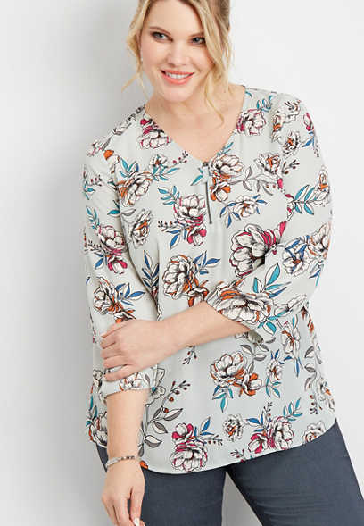 plus size floral zip front blouse