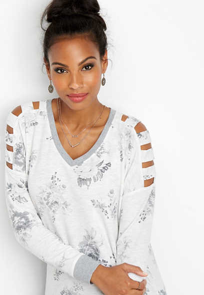 floral cut out sleeve sweatshirt