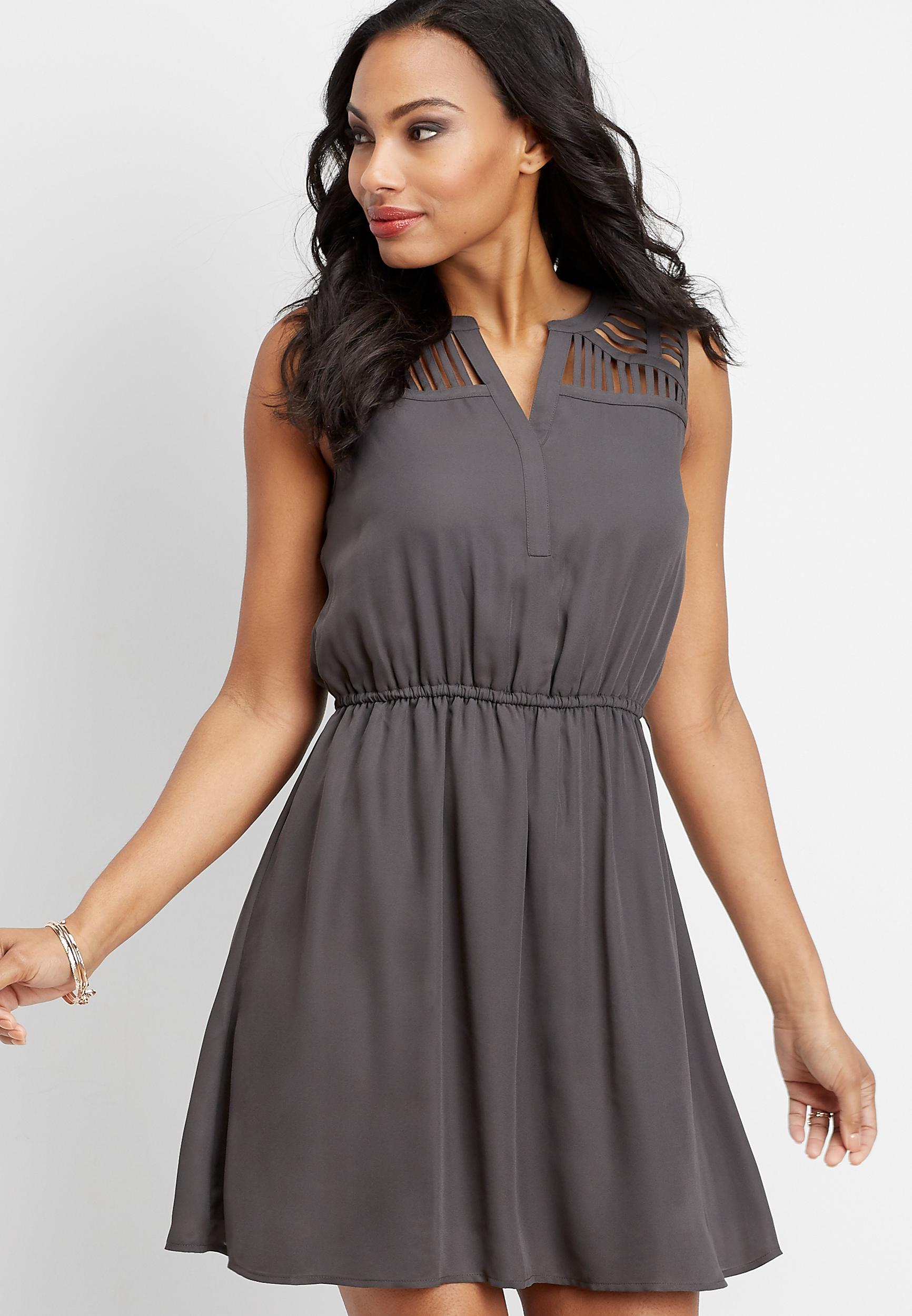 Lattice Shoulder V Neck Dress by Maurices