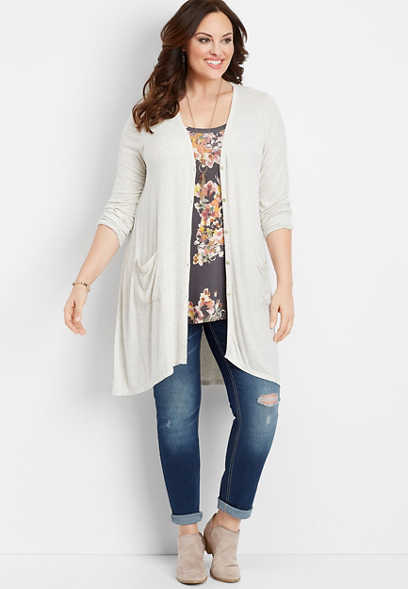 plus size ribbed button front duster cardigan