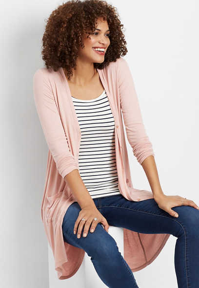ribbed button front duster cardigan