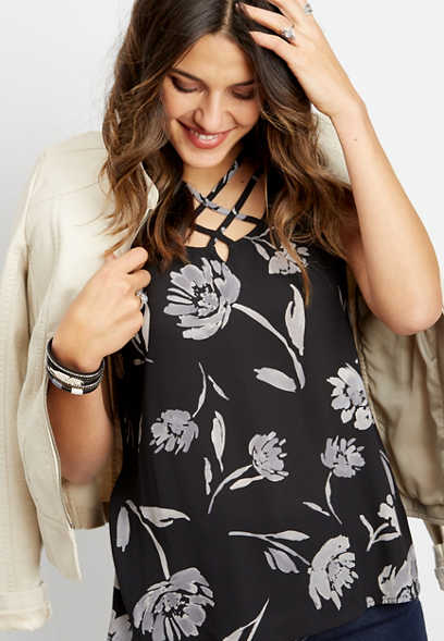 knit back lattice neck floral tank