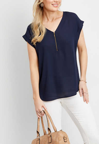 solid zip front short sleeve blouse