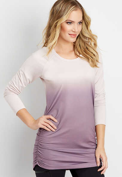 ombre cinched side tunic pullover