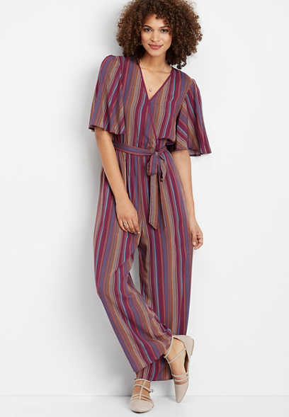 stripe wrap front jumpsuit