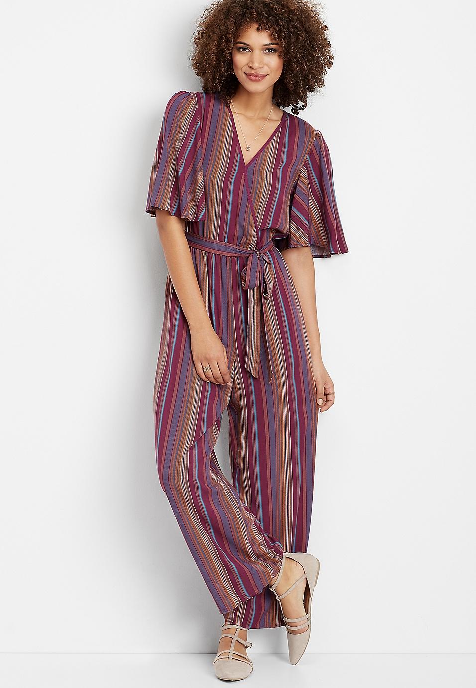 cea11d0f9adf stripe wrap front jumpsuit