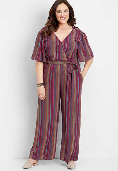 plus size stripe wrap front jumpsuit