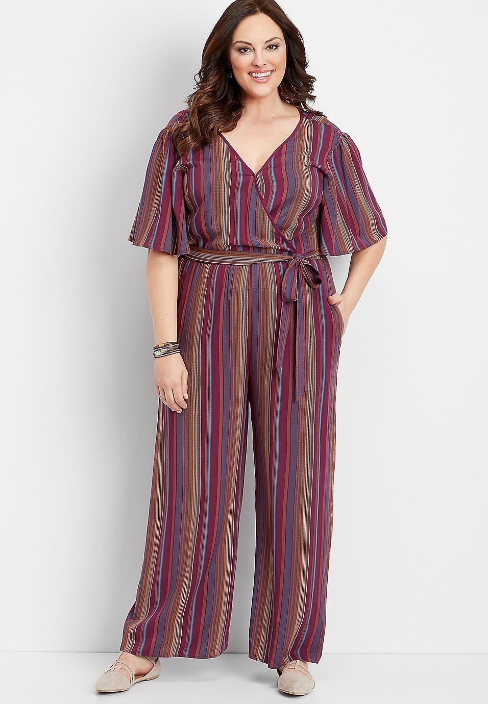 8bd170b0cd94 plus size stripe wrap front jumpsuit