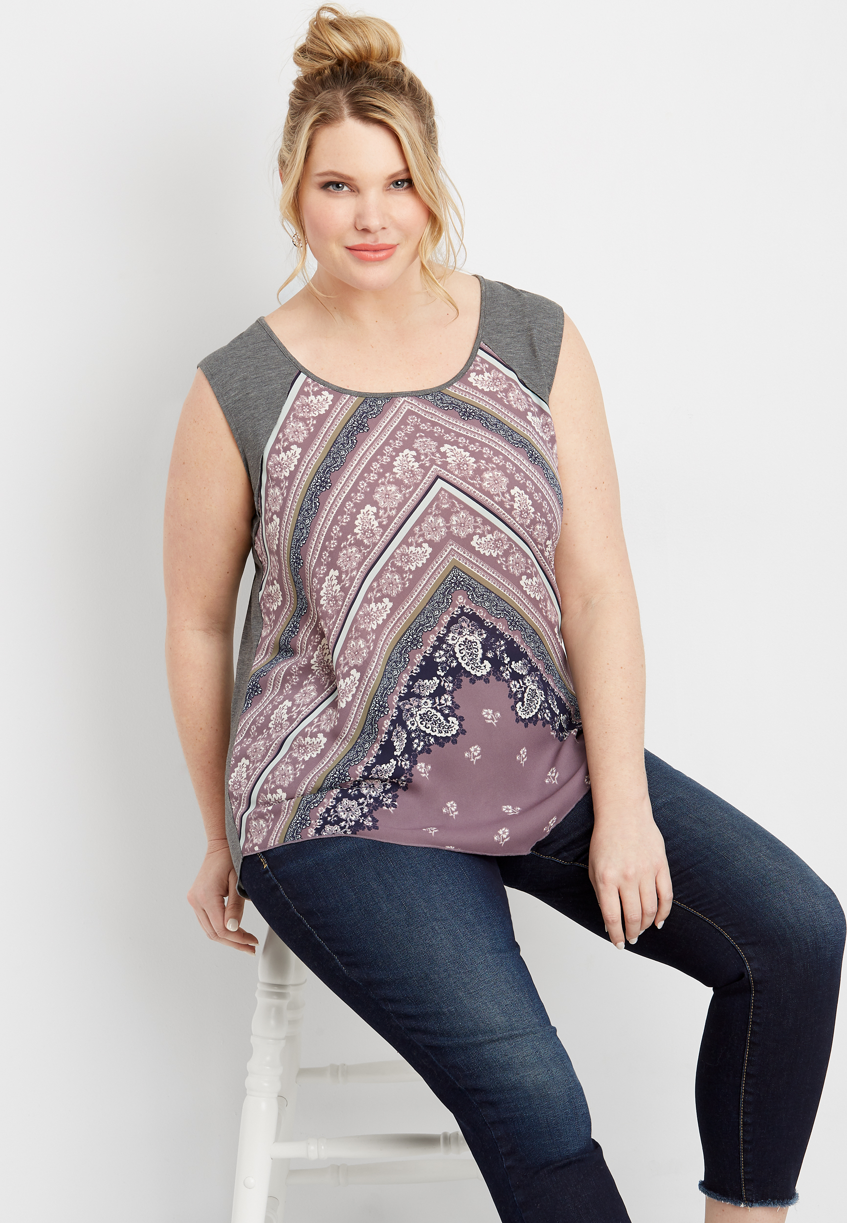 Plus Size Knit Back Chevron Print Tank by Maurices