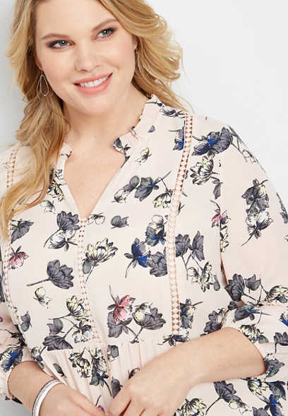 plus size crocheted inset floral blouse