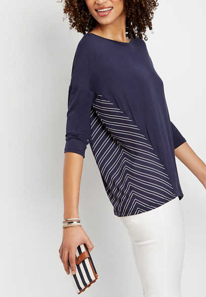 stripe side 3/4 sleeve top